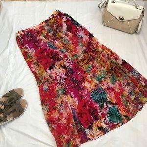 ECI  Beige Maxi floral skirt XL plus